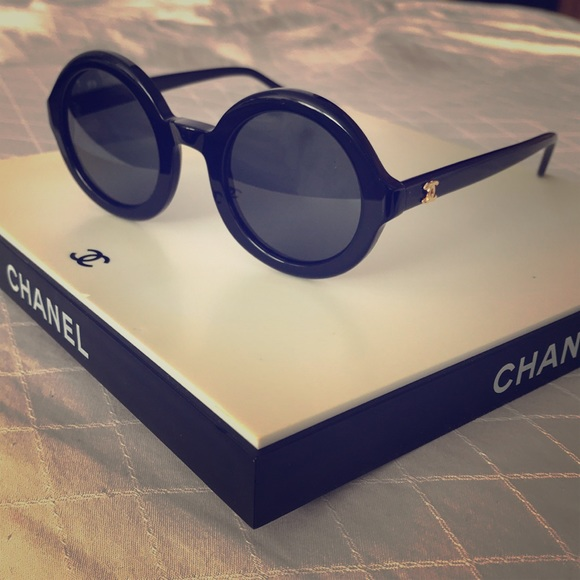 f9085ad2c0f CHANEL Accessories - Chanel Round Black Vintage Sunglasses Like New